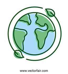 leafs plant around of planet earth ecology line and fill icon
