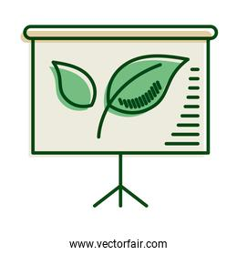 leafs plant in paperboard ecology line and fill icon