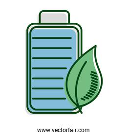 leaf plant with battery ecology line and fill icon