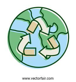 world planet earth with arrrows recycle ecology line and fill icon