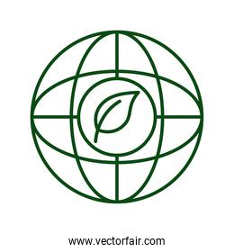 leaf plant in sphere planet ecology line icon