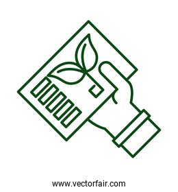 hand lifting card with leafs plant ecology line icon