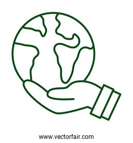 hand lifting world planet earth ecology line icon