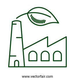 factory plant with leaf ecology line icon