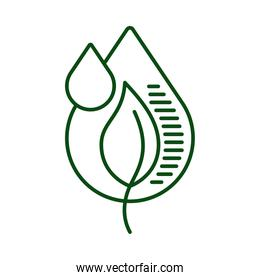 water drop with leaf plant ecology line icon