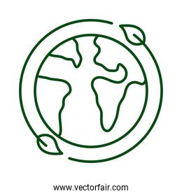 leafs plant around of planet earth ecology line icon