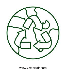 world planet earth with arrrows recycle ecology line icon