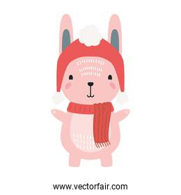 cute rabbit wearing christmas red hat  character