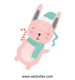 cute rabbit wearing christmas blue hat  character