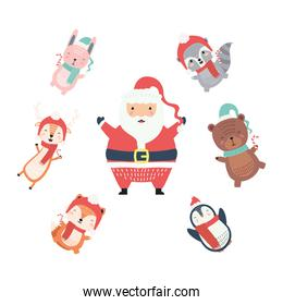 santa with cute animals around wearing christmas clothes characters
