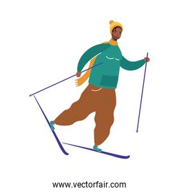 young afro man wearing winter clothes practicing ski