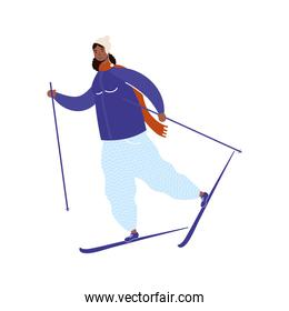 young afro woman wearing winter clothes practicing ski character