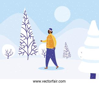 young afro woman wearing winter clothes in snowscape