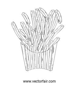 delicious french fries fast food drawn icon