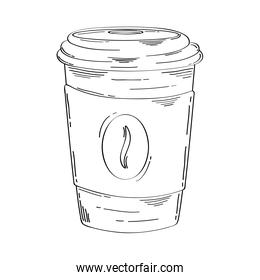 delicious coffee in plastic container drawn icon