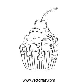 delicious ice cream in basket drawn icon