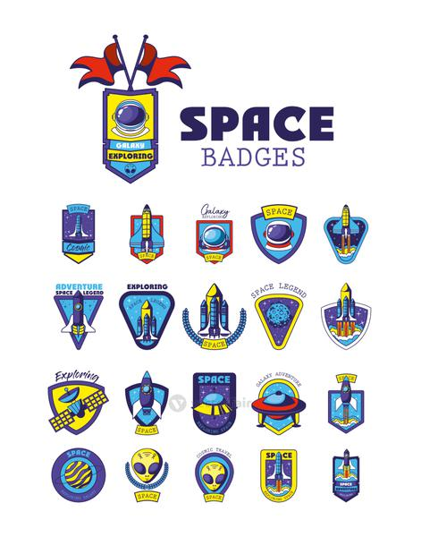 set of space badges on a white background
