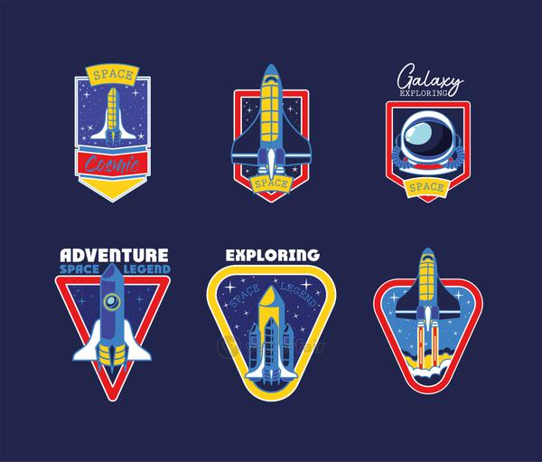 set of space badges on a blue background