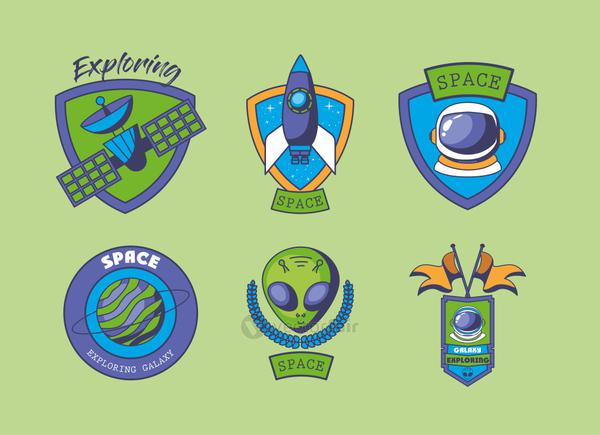set of space badges on a green background