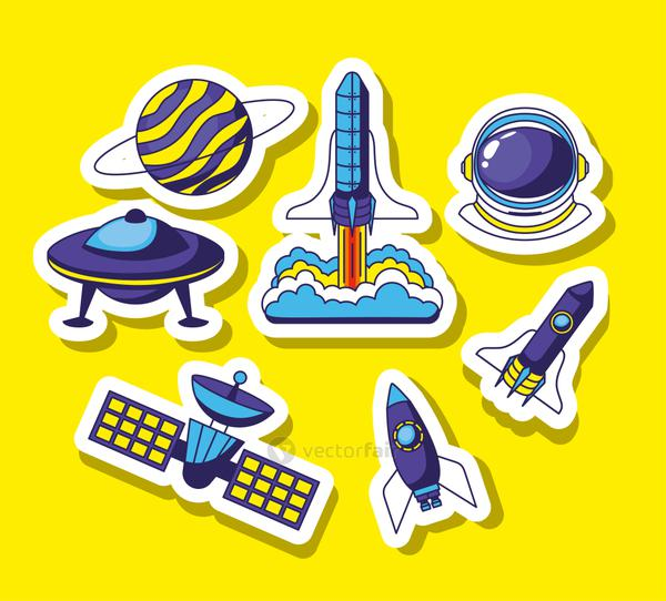 set of space icons on a yellow background