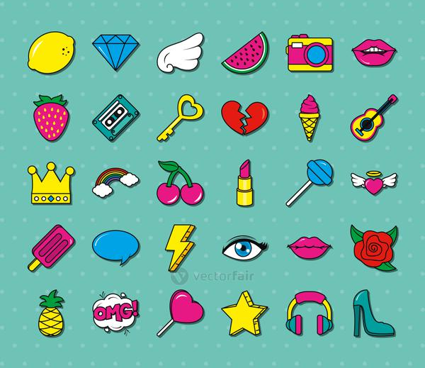 pop art icons collection, colorful design
