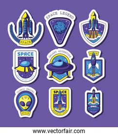 set of space badges on a purple background
