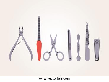 set of manicure icons on a white background