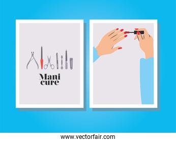 cards of manicure lettering, hands painting their nails with a red polish and set of manicure icons