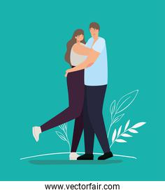 romantic couple hugging over a green background
