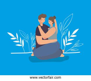 romantic couple sit and hugging on a blue background