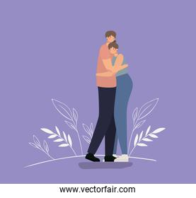 romantic couple hugging over a purple background