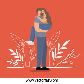 romantic couple hugging and lifting the girl on a red backgorund