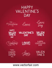 set of valentines day letterings on a red background