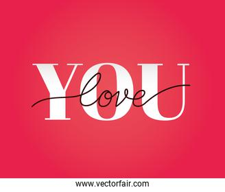 you love lettering on a red background