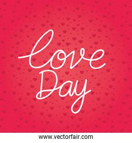 love day lettering on a red background