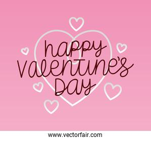happy valentines day lettering over a pink background