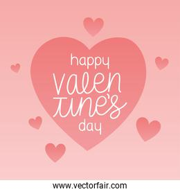 happy valentines day lettering in a pink background