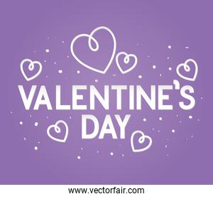 valentines day lettering on a purple background