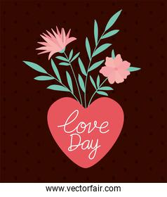 love day lettering and bundle of roses on heart
