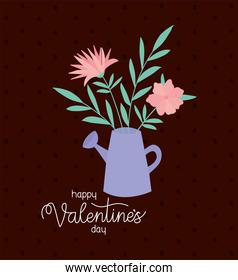happy valentines day and bundle of roses on a water can