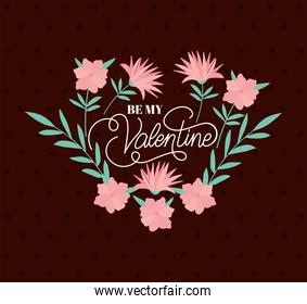 be my valentine lettering bundle of roses on a crimson background