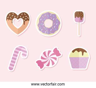 set of candys icons on a pink background