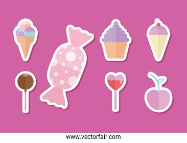 bundle of candys icons on a pink background