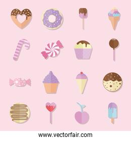 bundle of candys icons over a pink background