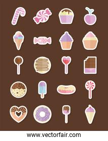 set of candys icons on a brown background