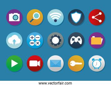 set of apps icons on a blue background