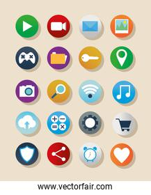 bundle of apps icons on a salmon color background