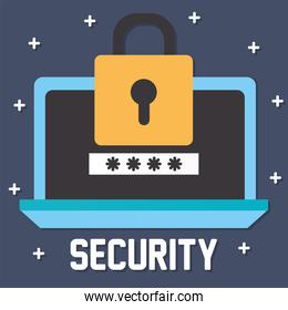 security lettering and laptop with one padlock with yellow color