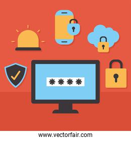 group of security icons on a red background
