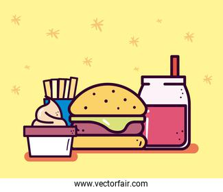 hamburger soda french fries and ice cream line and fill style icon vector design